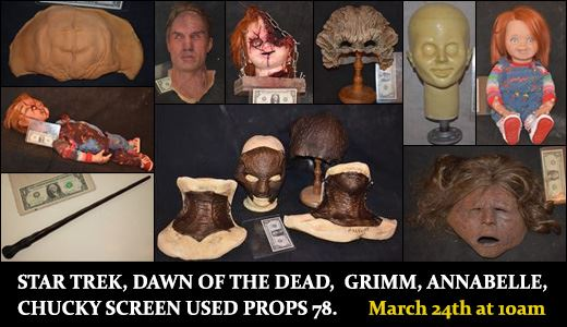 STAR TREK DAWN OF THE DEAD GRIMM CHUCKY ANNABELLE SCREEN USED PROPS 78