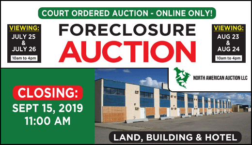 FORECLOSURE - COURT ORDERED AUCTION - MILE ZERO INN - GRIMSHAW AB