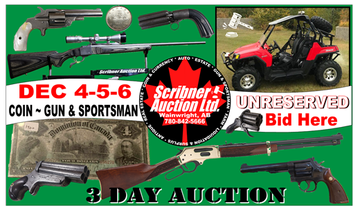 3 DAY : COIN & GUN & COIN AUCTION : DEC 4-5-6 WINTER 2020 LIVE ONLINE ONLY