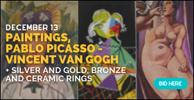 PAINTINGS, PABLO PICASSO - VINCENT VAN GOGH, SILVER AND GOLD, BRONZE AND CERAMIC RINGS - Auction Gal