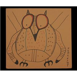 """Norval Morrisseau Original Colour Ink Drawing of an Owl ca. 1980's 14 3/4""""x 16""""  Good Condition"""