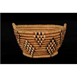 """Thompson River Basket with Handles and Diamond Imbricated Design 4"""" D. 2"""" H.  Fine Condition"""