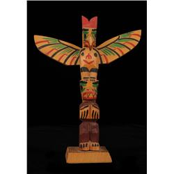 Ellen Neel Totem Carved with Thunderbird and Whale - Signed 10  H. 8  W.  Fine Condition