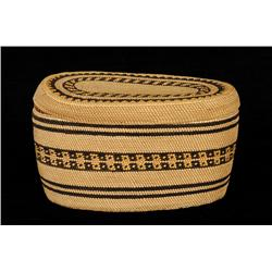 Makah Lidded Basket with Geometric Design 6 1/4  L. 3 1/2  H.  Fine Condition