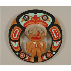 """Haida Wood Sculpture """"The Food Gatherer"""" by Bill Bellis 13"""" H. 13"""" W.  Fine Condition"""