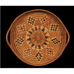 Salish Basketry Tray with Handles and Diamond Imbricated Design 14 1/2  D.  Fine Condition
