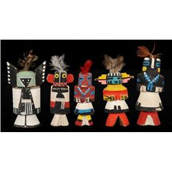 """Collection of Five """"Route 66"""" Miniature Kachina Dolls ca. 1940 2 1/2"""" - 3 1/4"""" H.  Good Condition"""