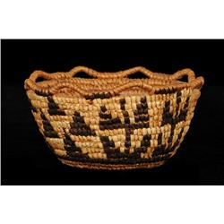 Klikitat Fully Imbricated Berry Basket ca. 1900 with Camus Flower - Mountain Design and Crenulated R