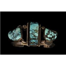 """Rex Arrowsmith Navajo Silver and Blue Landers Turquoise Bracelet 97 GMS 5"""" L. Inside, 1 9/16"""" W.  Fi"""
