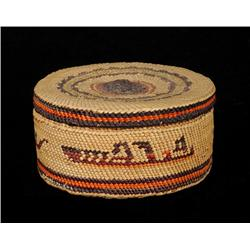 """Nuu-chah-nulth Lidded Basket with Rare Steamship Design 3 3/8"""" D. 1 3/4"""" H.  Fine Condition"""