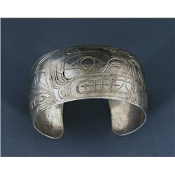 """Kwaguilth Silver Bracelet with Bear, Eagle, Raven and Killer Whale - Unsigned 6 1/4"""" L. 1 1/4"""" W.  F"""