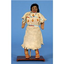 "Yakama Fully Costumed Beaded Buckskin Doll ca. 1920  10"" H.  Good Condition"