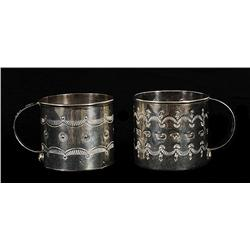 """Two Navajo Sterling Silver Cups with Incised Design 1 3/4"""" H. 1 3/4"""" D.  Fine Condition"""