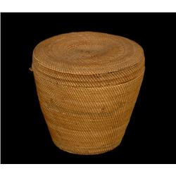 """Extremely Fine Nuu-chah-nulth Lidded Basket with Canoe Design 2"""" H. 2 1/8"""" W.  Good Condition"""