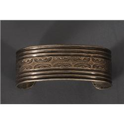 Early Navajo Silver Bracelet ca. 1930's Hand Chiseled and Hand Stamped with Old Leather Stamps 35.3