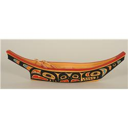"""David Neel Carved Yellow Cedar Canoe with Painted Whale, Raven and Eagle Design 21"""" L. 5 3/4"""" W.  Fi"""
