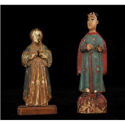 """Two Carved Polychrome Santos Figures 9"""" H. and 11"""" H.  As Is"""