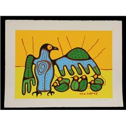 """Norval Morrisseau Serigraph """"Teaching the Young"""" 15/150   22 1/2""""x 30""""  Fine Condition"""