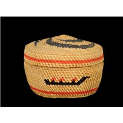 """Nuu-chah-nulth Dome Top  Basket with Canoe and Swirl Design 3 1/4"""" D. 2 1/2"""" H.  Fine Condition"""