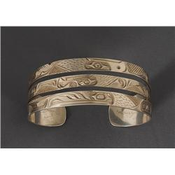 """Northwest Coast Silver Bracelet with Raven, Bear and Eagle Signed S Seaweed 6 1/2"""" L. 1"""" W.  Fine Co"""