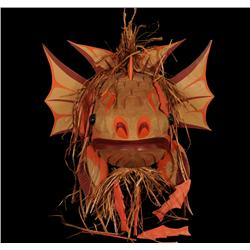 """Kwakwaka'wakw Red Snapper Mask Carved by Simon James 22"""" H. 19 1/2"""" W.  Fine Condition"""