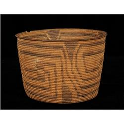 """Pima Basket with Geometric Design 10"""" D. 6 3/4"""" H.  Good Condition with Rim Loss"""