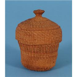 """Haida Knob Top Spruce Root Basket 3"""" D. 4"""" H.  Good Condition with Split on Lid"""