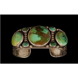 """Navajo Silver and Green Turquoise Bracelet ca. 1980's 111 GMS 6 3/8"""" L. 1 1/8"""" W.  Fine Condition"""