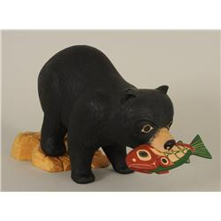 Glen Rabena Carved Sculpture of a Bear with a Salmon 16 1/2  L. 10  H. 6  W.  Fine Condition