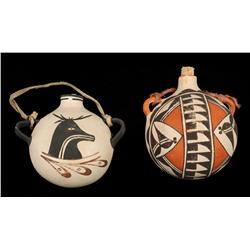 """Acoma Pottery Canteen 5"""" L. 6"""" W. and a Zuni Figured Pottery Canteen 5"""" L. 5"""" W.  Good Condition"""