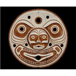 """Man in the Moon Mask with Cedar Bark Trim Carved by Jason Hunt 24 1/2"""" D.   Fine Condition"""