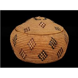 """Lillooet Dome Top Basket with Imbricated Diamond Design 8 1/2"""" D. 6"""" H.  Good Condition"""