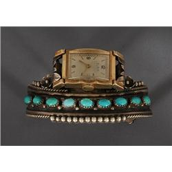 """Navajo Silver Watchband with Nine Turquoise Stones, Rain Drops and Twisted Wire 55 GMS 5 1/4"""" L. 1 1"""