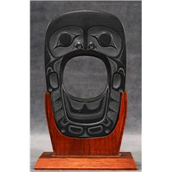 "Haida Argillite Human Sculpture by Sharon Hitchcock 1975  7 1/4"" H. 4 3/4"" W.  Fine Condition"