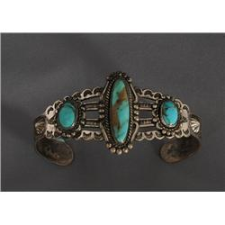 """Navajo Silver and Turquoise Bracelet 21.4 GMS Fred Harvey Era with Twisted Wire Around Stones 5 1/4"""""""