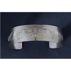 "Northwest Coast Silver Bracelet with Beaver Design Signed JTC 6 1/4"" L. 3/4"" W.  Fine Condition"