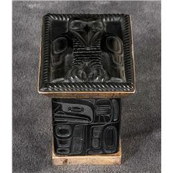 """Jay Simeon Argillite and Silver Box with Raven Design 3 1/3"""" H. 3 1/4"""" L. 2 1/2"""" W.  Fine Condition"""