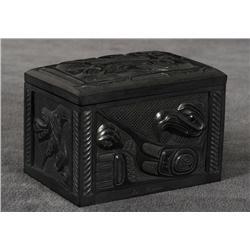"Ed Russ Argillite Box Carved with Orca, Eagle and Raven Design 3 1/3"" H. 3 1/4"" L. 2 1/2"" W.  Fine C"