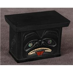 """Argillite Box Carved by Andrew Williams with Abalone and Catlinite Inlays 3"""" L. 2"""" W. 2 1/4"""" H.  Fin"""