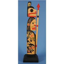 "Bear Warrior Chief Panel Carved by Darren Yelton - Yellow Cedar 39 1/2"" H. 10"" W. Base  Fine Conditi"