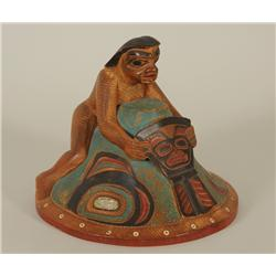 """Tlingit Helmet Carved with Chief Holding Copper 11"""" W. 7 1/2"""" H.  Good Condition"""