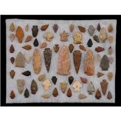 """Collection of 63 Midwestern Arrowheads and Spear Points 1"""" - 4 1/2"""" L."""