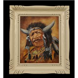 """Oil Painting on Canvas of """"Walking Buffalo"""" Signed M.C. Leckie 14 1/4""""x 16 1/4"""" Framed  Good Conditi"""