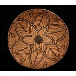 """Apache Figured Basketry Bowl ca. 1900  14"""" D.  Good Condition with Minor Loss"""
