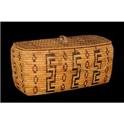 """Lillooet Fully Imbricated Lidded Basket 14"""" L. 8"""" W. 6 3/4"""" H.  Good Condition"""
