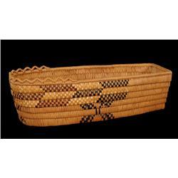 "Salish Basketry Cradle with Crenulated Rim 21"" L. 8"" W.  Fine Condition"