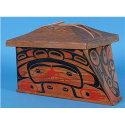 """Larry Rosso and Glen Rabena Carved Canoe Box with Painted Human, Raven and Halibut Design 18 3/4"""" L."""
