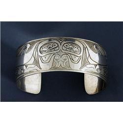"Northwest Coast Silver Bracelet with Killer Whale Design Signed M Morrison 6 1/4"" L. 1"" W.  Fine Con"