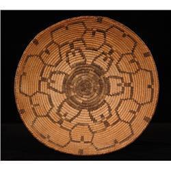 "Pima Basketry Tray with Squash Blossom Design ca. 1900  14"" D. 3"" H.  Fine Condition"