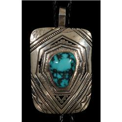 """Navajo Silver and Villa Grove Turquoise Bolo Tie Made by Peter Nelson 88 GMS Pendant 2 7/8"""" H. 2 1/8"""